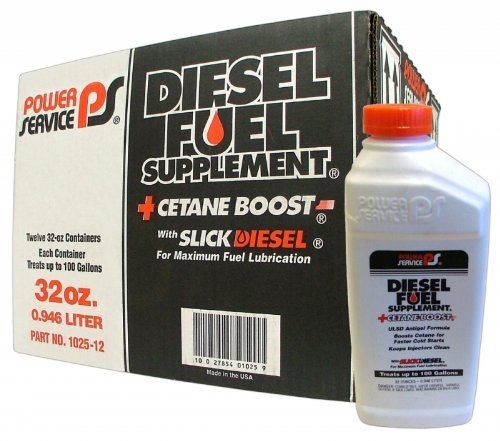Power Service Diesel Fuel Supplement + Cetane Boost 32oz., Case of 12 Treats 100 gallons diesel fuel per Bottle