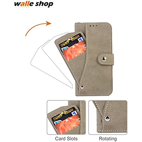Galaxy S7 Edge case,Walle Shop[Rotating 6 Card Slots][Flip][Leather Cover][Wallet Case] Button Snap With Stand Sales
