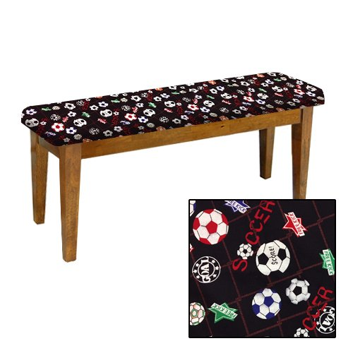 Shaker Design - Oak Dining Bench with a Padded Seat Cushion Featuring Your Favorite Novelty Themed Fabric (Soccer) by The Furniture Cove
