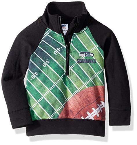 NFL Seattle Seahawks Unisex 1/4 Zip Shirt, Black, 4T