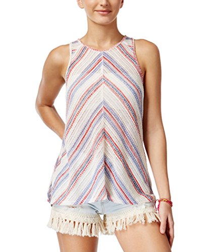 American Rag Juniors' Sleeveless Lace-Back Top (White Multi, (American Rag Sleeveless)