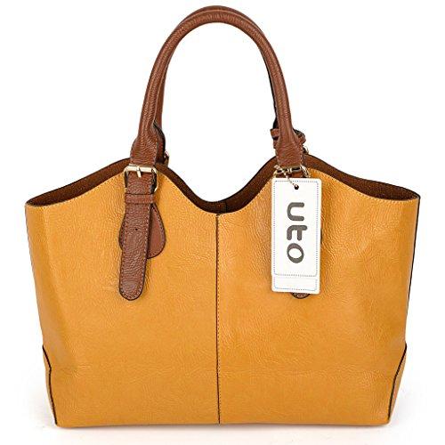 UTO Mujer bolso de mujer conjunto 3 piezas de bolsa de cuero PU bolso de hombro pequeño bolso monedero correa de la cartera de color rosa Amarillo