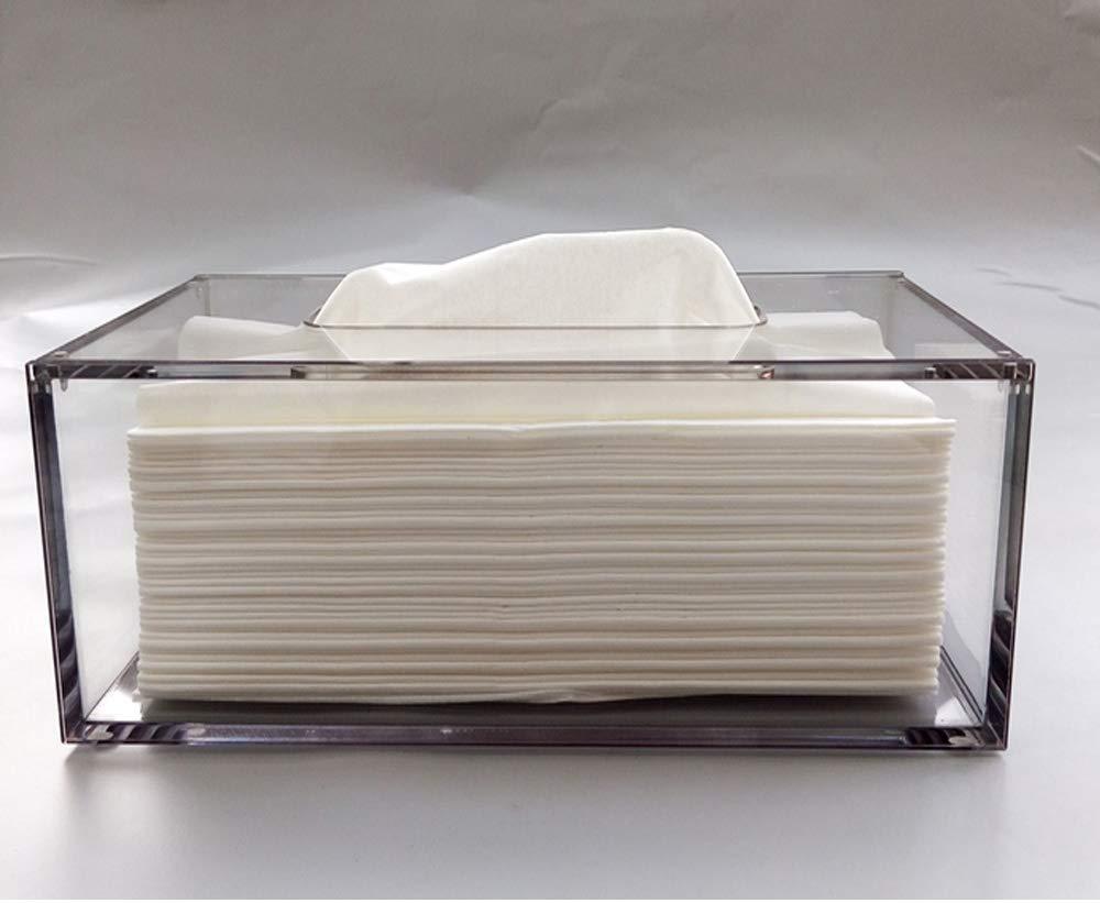 W226xD126xH84mm avec couvercle aimant/é gris Yakri TB002 Distributeur de mouchoirs en acrylique transparent