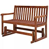 Daonanba Porch Glider Durable Garden Swing Bench Sturdy Acacia Wood
