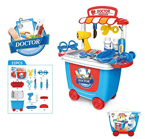 OWIKAR Medical Toys Doctor Kit Pretend Play Toy Sets Simulation Medicine Box Baby Kids Funny Toys with Carry (Colonial Baby Spoon)
