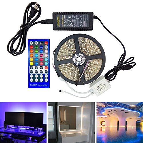 Mixed Color Changing LED Strip Light Kit RGBW Multicolor Dimmable Waterproof Neon Lighting SMD5050 300LEDs 16.4ft DC12V RGB Daylight White with 40Key Remote for Kitchen Holiday Canteen (Waterproof Canteen)