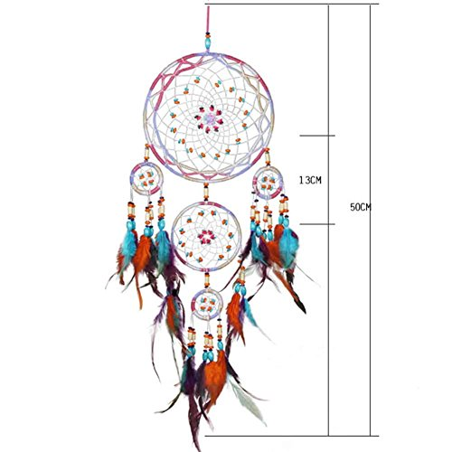 CHUANGLI Colorful Handmade Dream Catcher Feather Bead Hippie Wedding Style Car Hanging Home Decor