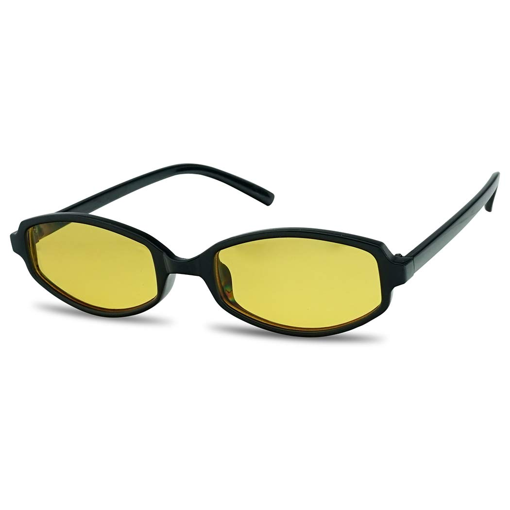 SunglassUP - Retro Vintage 90's Slim Narrow Color Tone Sunglasses Rectangular Oval Shades (Black Frame | Yellow) by SunglassUP