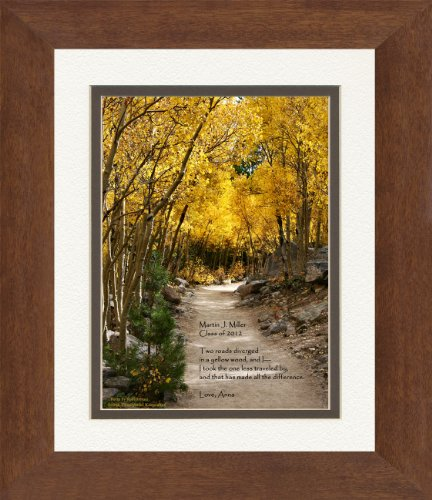 Framed Personalized Graduation Gift with Verse from The Road Not Taken Poem. Aspen Path Photo, 8x10 Double Matted. Add Your Personalization for Unique Graduate Keepsake. Gift for Graduate 2016