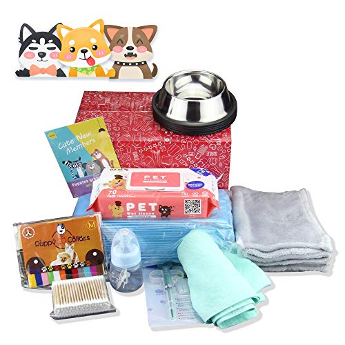 9 in 1 Puppy Complete Whelping Pet Supply Nursing Kit for Newborn Dogs Cats Record Charts 12 Color ID Collars Underpad…