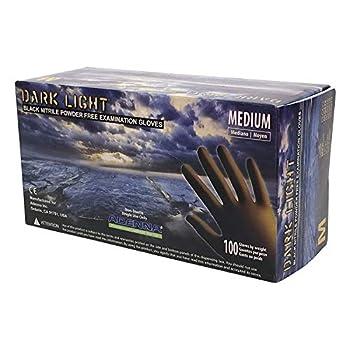 Image of Adenna DLG676 Black Nitrile Powder Free Exam Gloves Size Large 10 Box of 100