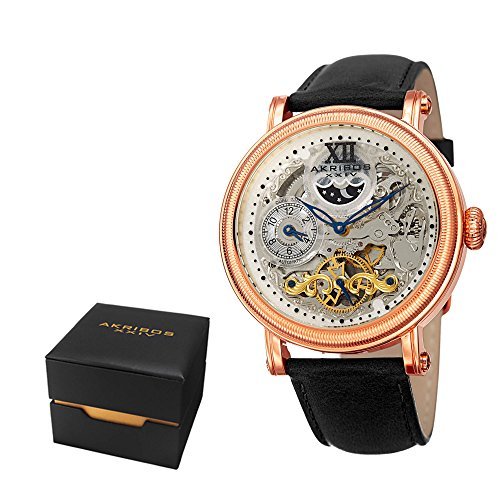 Watch Gold Transparent (Akribos XXIV Men's Dress Automatic Skeleton Watch - Transparent Skeleton Dial - Featuring a Leather Strap - [ AKN968 ] (Black/Gold))