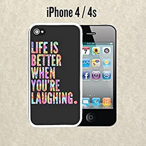 iPhone Case Life is Better Laughing Trippy Quote for iPhone 4 / 4s Plastic White (Ships from CA)