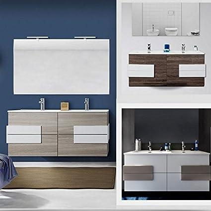 Mobile arredo bagno Energy 120 cm fascia centrale doppio lavabo con ...
