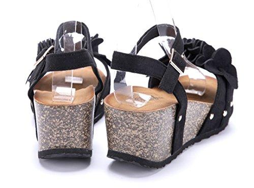 Schuhtempel24 Damen Schuhe Keilsandaletten Sandalen Sandaletten Keilabsatz Blumenapplikation/Nieten 7 cm Schwarz