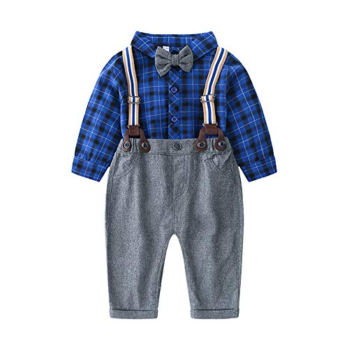 - Baby Boy Clothing Sets with Bowtie,Infant Blue Plaid + Gray Bibs Pants + Suspender Gentleman Outfits Suits
