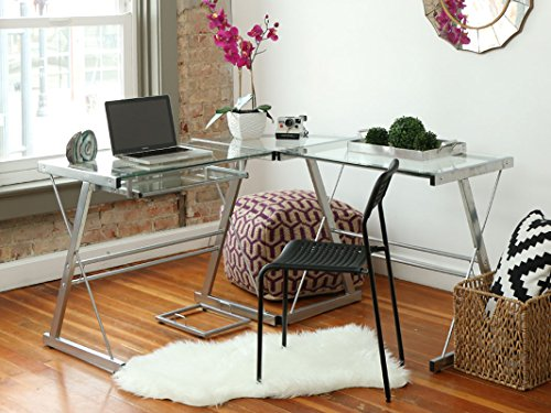 L-shaped Clear Glass Desk - 3-piece Contemporary Desk with Clear Glass and Silver Frame