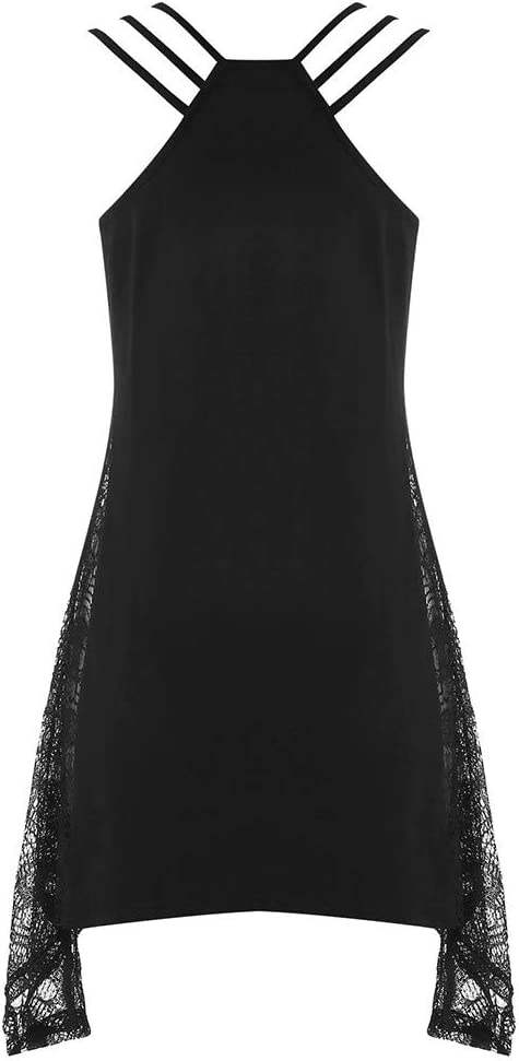 Staron Womens Skull Printed Casual Tank Top Halloween O-Neck Lace Sleeveless T-Shirt Loose Pullover Tops