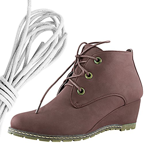 Dailyshoes Femmes Mode Lace Up Bout Rond Cheville Haute Oxford Wedge Bootie, Blanc Marron Pu