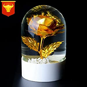 FYYDNZA Wedding Gifts Gilt Rose Crystal Ball Gold Foil Crystal Ornaments Valentine'S Day Wedding Girlfriend 16