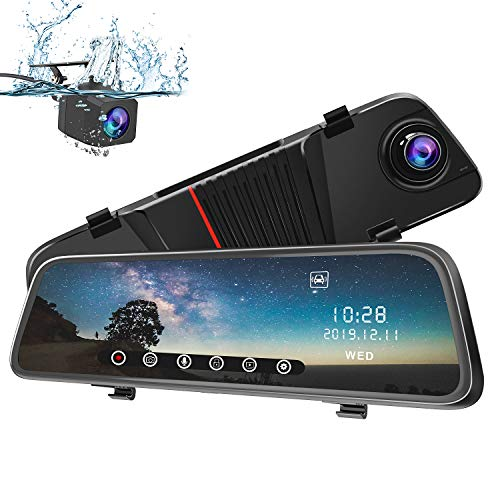 Mirror Dash Cam 1080P AWESAFE 10 Inch Touch Screen Front and Rear -