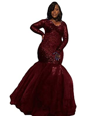 af96d6a7 WZW Plus Size Mermaid Sequin Long Prom Dress Formal Evening Wedding Party  Gown .