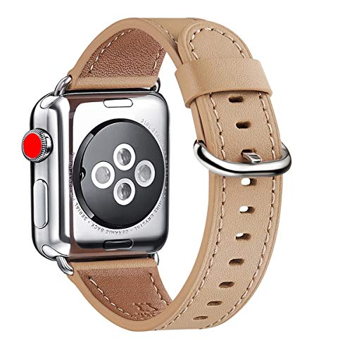 WFEAGL Compatible Apple Watch Band 38mm, Top Grain Leather Band Replacement Strap with Stainless Steel Clasp for iWatch Series 3,Series 2,Series 1,Sport, Edition (Camel Band+Silver Buckle)