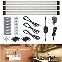 Lychee® LED Under Cabinet Light, Set of 3 LED Lighting Bars, 11.8-inch Dimmable Under Counter LED Light, Ultra-Thin, 7.5W 900 Lumens LED Light Strip for Kitchen, Bedroom, Closet, Bookcase (Warm White)