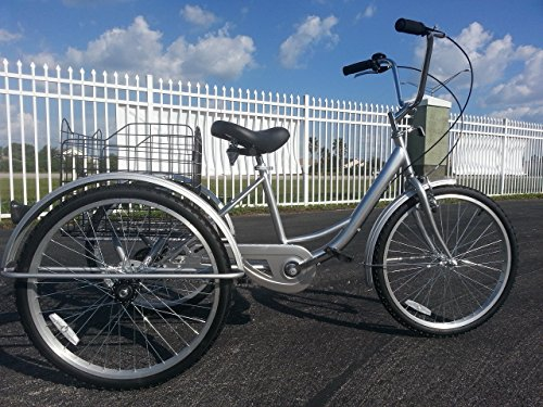 24″ Single Speed Adult Tricycle Silver Big Comfortable SEAT Large Basket
