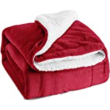 "Sherpa Throw Blanket Red 50""x60"" Reversible Fuzzy Bed Throws Microfiber All Seasons Luxury Fluffy Blanket for Bed or Couch by Bedsure"