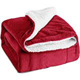 "Sherpa Throw Luxury Blanket Red Twin Size 60""x80"" Reversible Fuzzy Microfiber All Season Blanket for Bed or Couch by Bedsure"