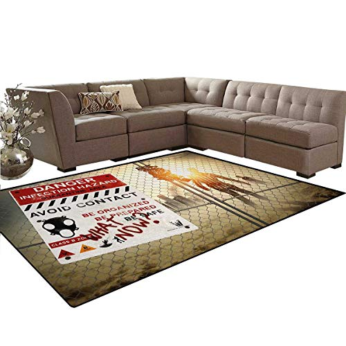 Zombie,Rug,Dead Man Walking in Dark Danger Scary Scene Fiction Halloween Infection Picture,Oriental Floor and Carpets,Multicolor,5'x8'