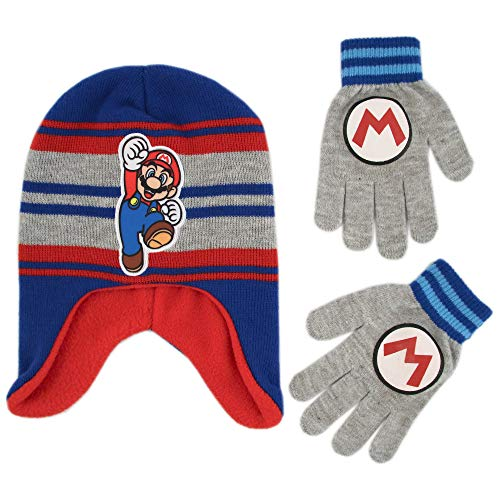 Nintendo Boys' Little Super Mario Hat and Gloves Cold Weather Set, Grey/Blue/red, Age 4-7 for $<!--$12.99-->