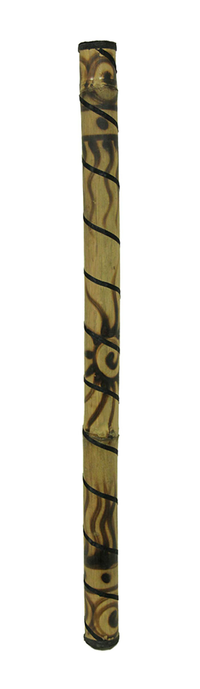 36 Inch Bamboo Rain Stick Percussion Instrument Wood Burned Sun Design by Zeckos