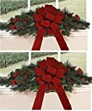 Set of Two Christmas Window Swags with Red Velvet Ribbon