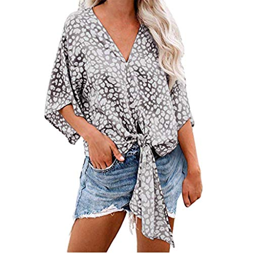 LIM&Shop  Women Summer Tunic Top V-Neck Chiffon Shirt Casual T-Shirt Print Tee Batwing Sleeves Plus Size Blouses Loose Gray