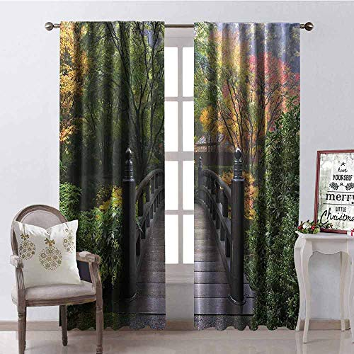 GloriaJohnson Nature Wear-Resistant Color Curtain Wooden Bridge at Portland Japanese Garden Oregon in Foggy Autumnal Morning Park Waterproof Fabric W100 x L84 Inch Green Coral (Portland Patio Oregon Furniture)