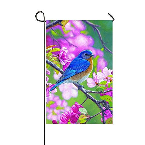 HOOSUNFlagrbfa Spring Summer Pink Blossom Blue Bird Garden Flag Holiday Decoration Double Sided Flag 12 x 18 Inch