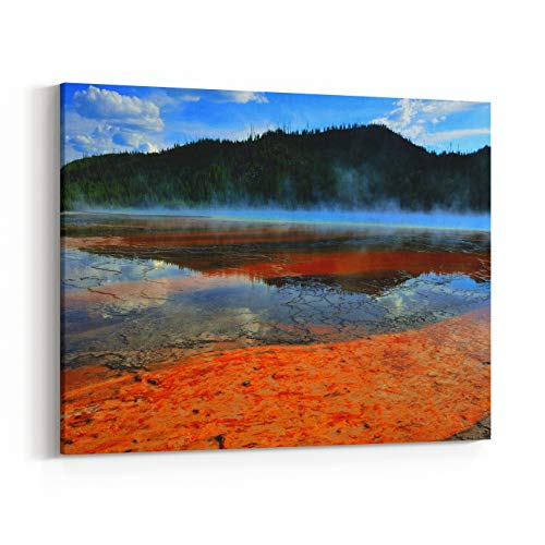 Rosenberry Rooms Canvas Wall Art Prints - Red Steamy Surface of The Midway Geyser Basin in Yellowstone National Park, Wyoming (10 x 8 inches)
