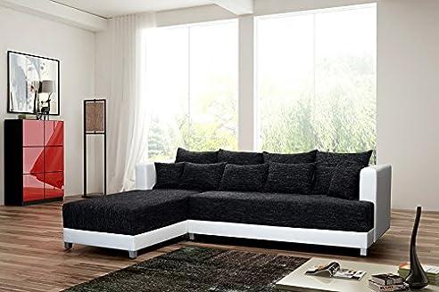 Schlafsofa Sofa Couch Ecksofa Eckcouch Schwarz / Weiss