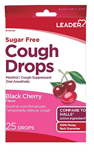 Leader Sugar Free Black Cherry Flavor Menthol Drops, 25 Per Bag (Pack of 4)