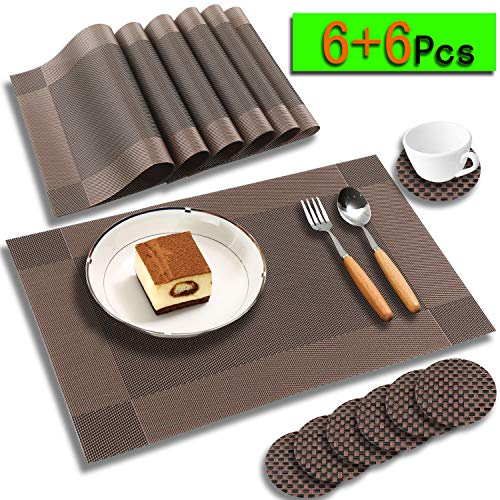 (hyle Placemats for Dining Table Kitchen Table Mats Outdoor mat Woven Vinyl Placemats Set of 6 Coasters-Heat Resistant Stain Resistant Non-Slip Washable Easy Clean Place Decor Dark Brown)
