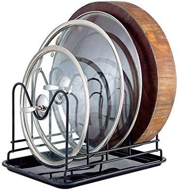 パン蓋ホルダー 水トレイ台所多機能付きポット蓋ホルダーカウンターお座りタイプはブラックラック (色 : Black, Size : 26.5×18×19.5cm)