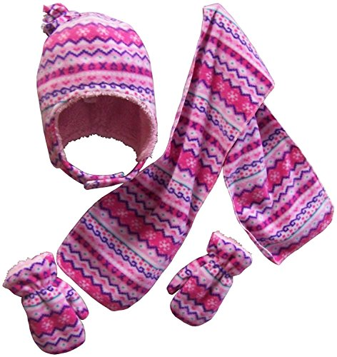 rpa Lined Fair Isle Printed Fleece Hat/Scarf/Mitten Set (2-3 Years, fuchsia/pink/purple/white/turq) ()