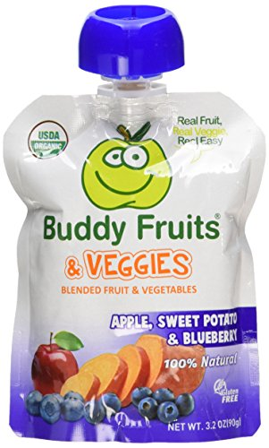 Buddy Fruits & Veggies 12 Pack Squeezable Fruit and Veggies Pouches 3.2oz - Apple, Sweet Potato and Blueberry