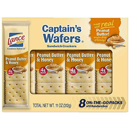 Lance Sandwich Crackers, Captain's Wafers Peanut Butter and Honey, 8-Count Boxes (Pack of 14)