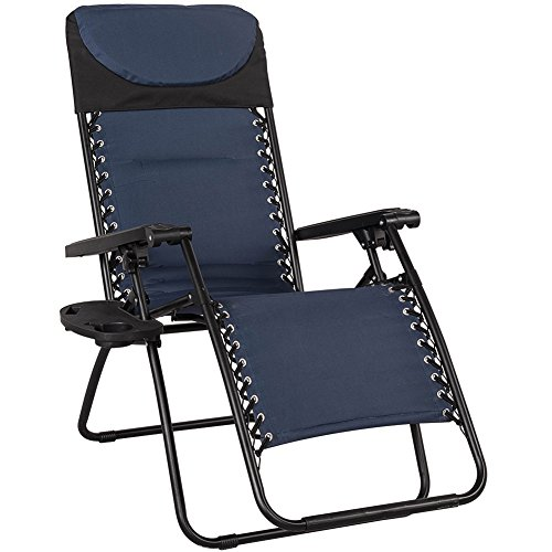 Sundale Outdoor Quilted Zero Gravity Reclining Chair with Head Pillow and Utility Tray, Navy Blue