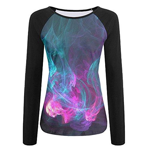 Martin Long Sleeve Denim Shirt (Colored Smoke Womens Breathable T-Shirt Long Sleeve Baseball Tees)