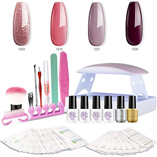 SEXY MIX Gel Nail Polish Kit with UV LED Light, Home Gel Nail Polish Kit Manicure Tools 4 Colors Gel Nail Polish Base and Top Coat, Portable Kit for Travel