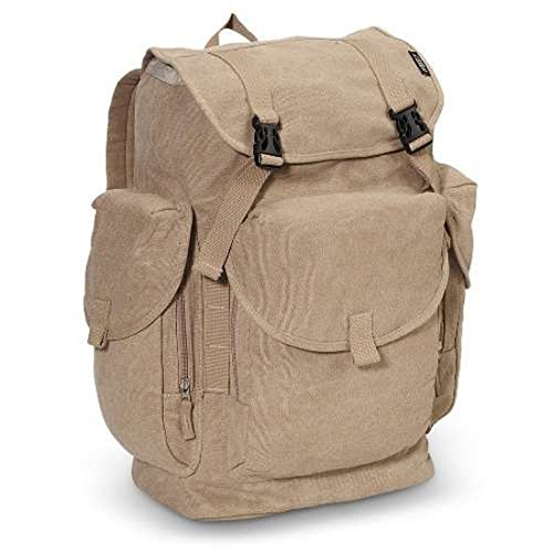 Bagiva Everest Large Cotton Canvas Rucksack Bag Durable Handy Travel Backpack School Casual Bags Hiking Camping Cycling Pack(Khaki,Large)